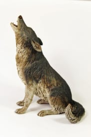 Grey Wolf, Sitting Howling - ceramic clay sculpture