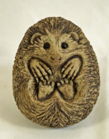Curled Hedgehog - ceramic clay sculpture