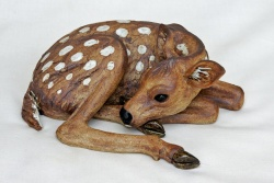 Deer Fawn, curled up resting - ceramic clay sculpture
