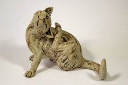Cat, Scratching an Ear - ceramic clay sculpture