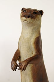 Otter, On the lookout - ceramic clay sculpture