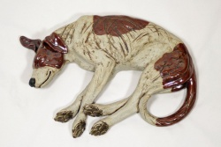 Sleeping Dog- 'Four Paws' - ceramic clay sculpture