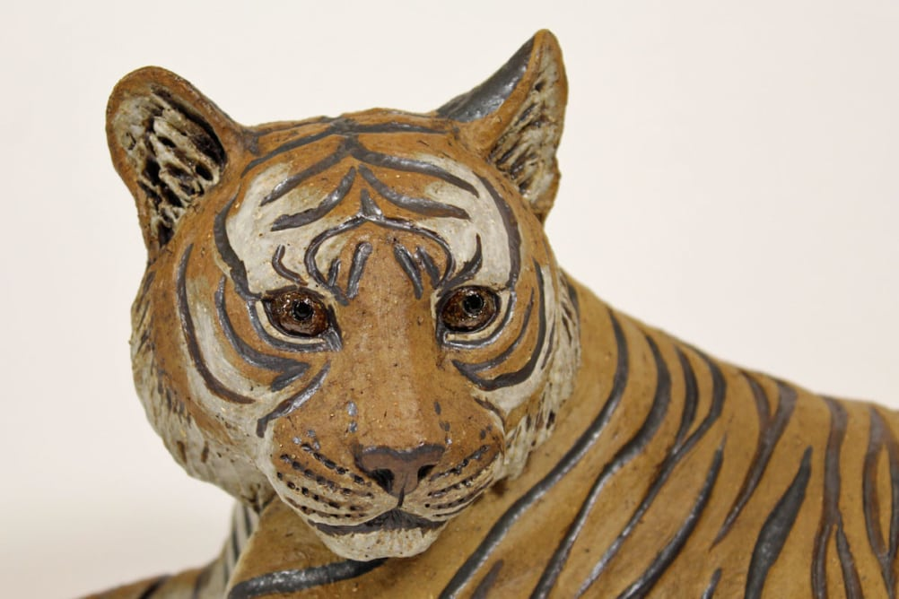 Tiger Mum No.2 - ceramic clay sculpture
